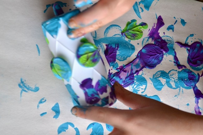Roller painting is a fun kids activity